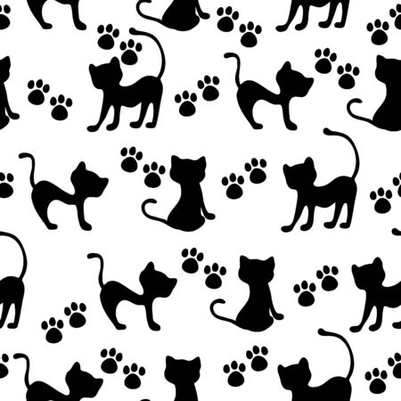 Hand-drawn black cats and paws vector seamless pattern