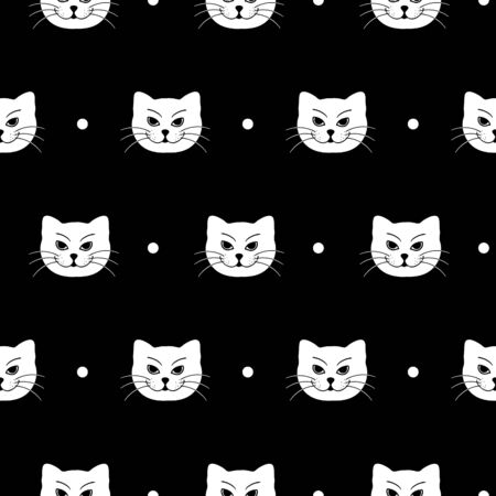 Cute white cats flat vector seamless pattern