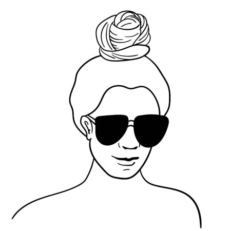 Girl with hair bun and black sunglasses. Vector line art isolated on white. Standard-Bild - 135871847