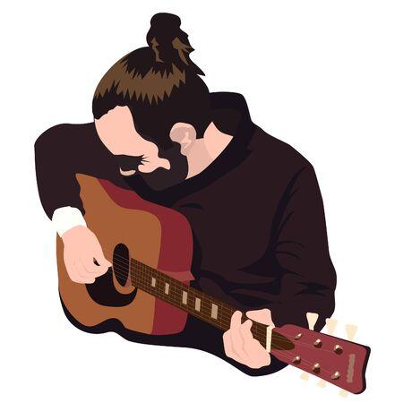 Guitar player vector illustration. Man with hair bun and beard playing guitar. Vetores