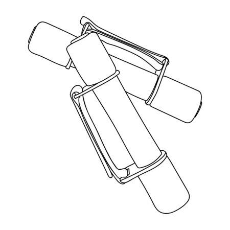 Soft dumbbell set vector illustration black line isolated