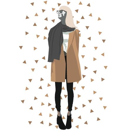 Mannequin wearing fall clothes vector illustration