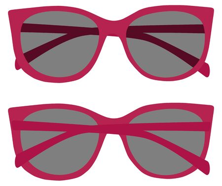 Pink, tinted eyeglasses vector illustration front and back view