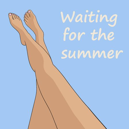 Woman legs on pastel blue background with waiting for the summer inscription vector illustration