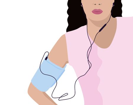 Girl with headphones and phone armband vector illustration
