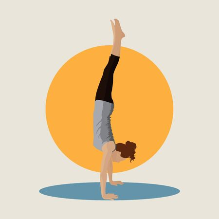 Girl doing a handstand vector illustration