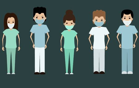 Medical staff in uniforms with protective face masks flat vector illustration