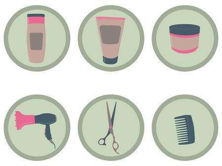 Haircare and styling vector icons 矢量图像