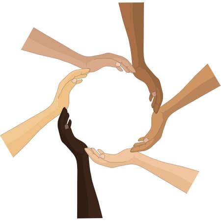 Six hands circle vector concept Illustration