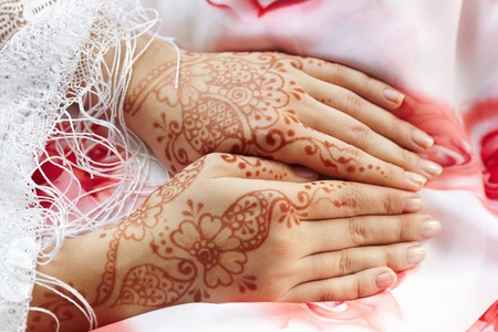 indian art: Picture mehandi on the hand of girl