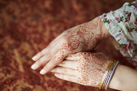 Picture mehandi on the hand of girl photo