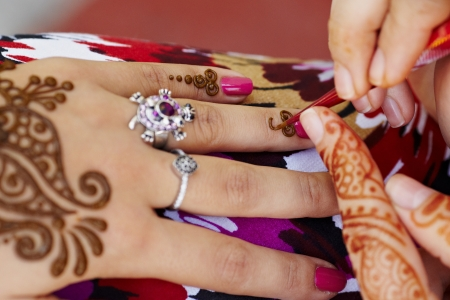 The Indian pattern is drawn a girl. Mehandi photo