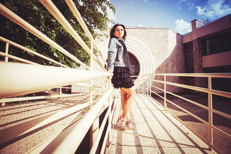 Bridge on white girl in black dress Stok Fotoğraf - 29685107