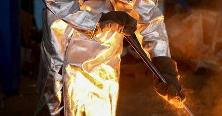 Molten metal. Aluminium foundry. Master alloys manufacturing. Metal smelting temperature measurement