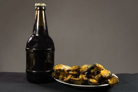 A bottle of dark beer and a plate of smoked fish. On a dark background.