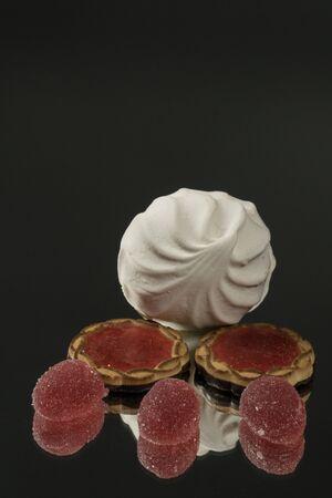 marmalade fruit jelly on black mirror background Stok Fotoğraf