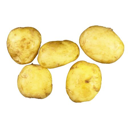 Young potatoes, isolate on white, mirror reflection
