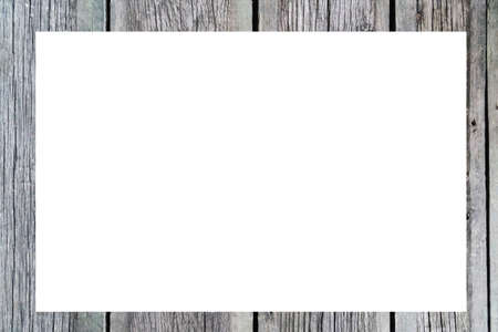 Background with gray old boards, wooden frame