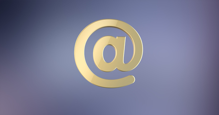 Mail At Sign Gold 3d Icon Stock Photo