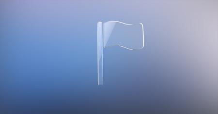 icon 3d: Flag Glass 3d Icon Stock Photo