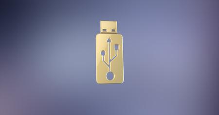 usb stick: USB Stick Gold  3d Icon Stock Photo