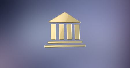 financial institutions: Bank Gold 3d Icon