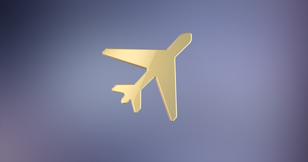 takeoff: Plane Takeoff Gold 3d Icon Stock Photo