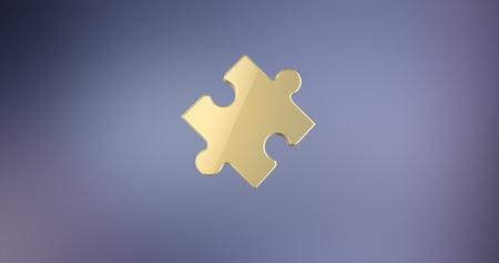 piece: Puzzle Piece Gold 3d Icon Stock Photo