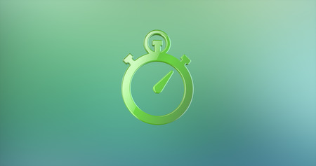 stop watch: Stop Watch Green 3d Icon