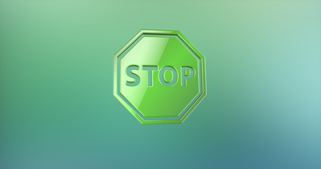Stop Green 3d Icon