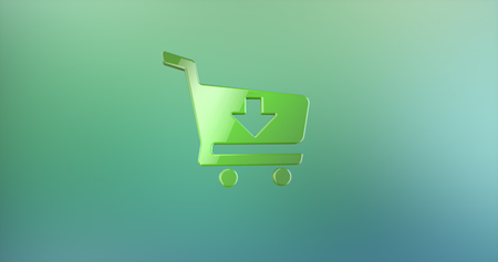 mart: Cart Green 3d Icon Stock Photo