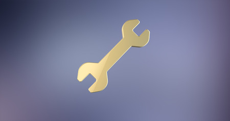 Wrench Gold 3d Icon on gradient background
