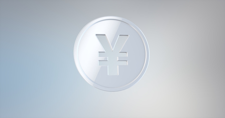 Coin Japanese Yen White 3d Icon on gradient background
