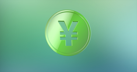 yen: Coin Japanese Yen Color 3d Icon on gradient background