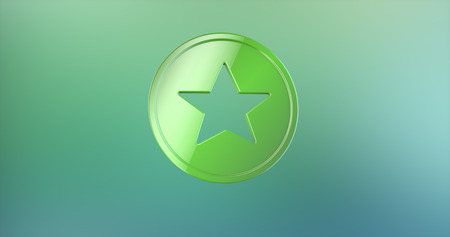 color 3d: Star Badge Color 3d Icon on gradient background Stock Photo