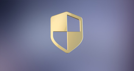 defend: Defend Shield Gold 3d Icon on gradient background