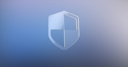 defend: Defend Shield Glass 3d Icon on gradient background Stock Photo