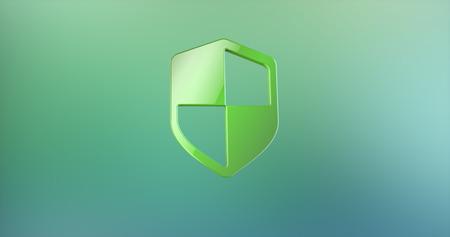 color 3d: Defend Shield Color 3d Icon on gradient background Stock Photo