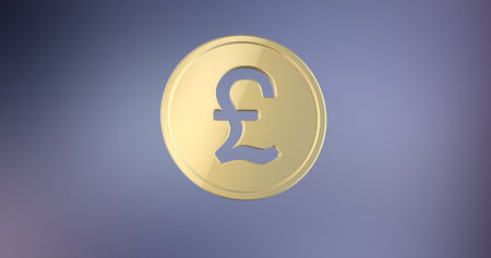 pound coin: Coin Great Britain Pound Gold 3d Icon on gradient background Stock Photo