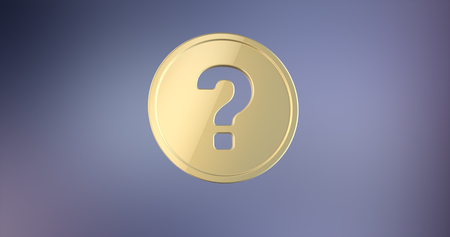questionably: Question Badge Gold 3d Icon on gradient background Stock Photo