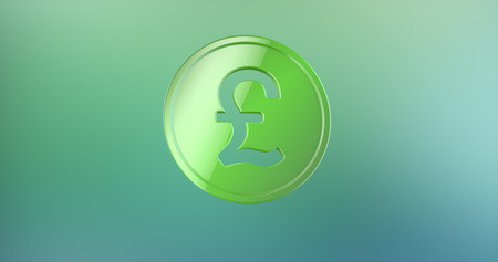 pound coin: Coin Great Britain Pound Color 3d Icon on gradient background Stock Photo