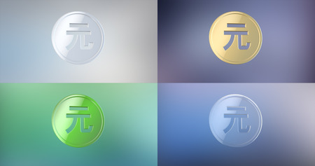 renminbi: Coin China Renminbi 3d Icon on gradient background
