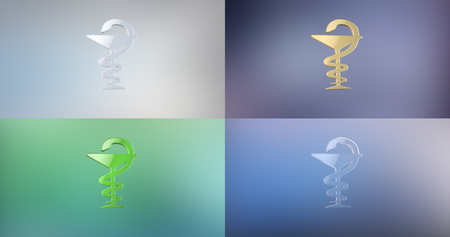 aesculapius: Medicine Snake 3d Icon on gradient background