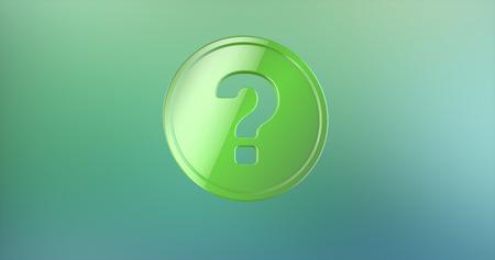 color 3d: Question Badge Color 3d Icon on gradient background Stock Photo