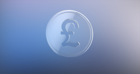 pound coin: Coin Great Britain Pound Glass 3d Icon on gradient background