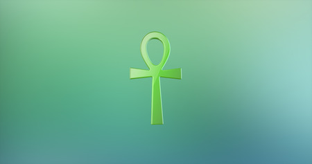 ankh: Ankh Color 3d Icon on Gradient Background Stock Photo