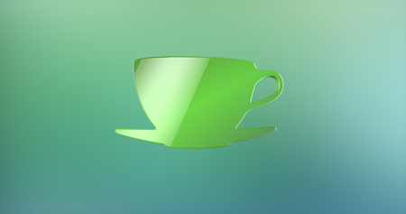 color 3d: Coffee Cup Color 3d Icon on Gradient Background