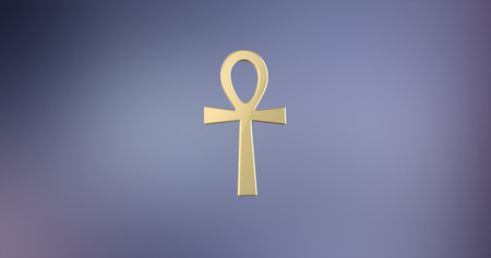 Ankh Gold 3d Icon on Gradient Background