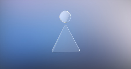 Ladies Sign Glass 3d Icon on Gradient Background