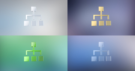 jerarqu�a: Hierarchy Network 3d Icon on Gradient Background Foto de archivo